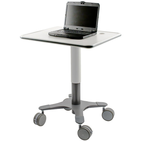 Laminate Laptop Cart Frost White Large Rectangle Cart
