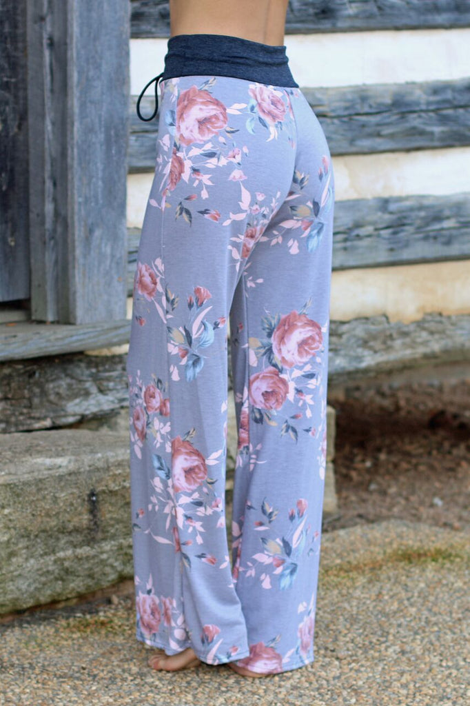 Chill Out Floral Lounge Pants - Grey