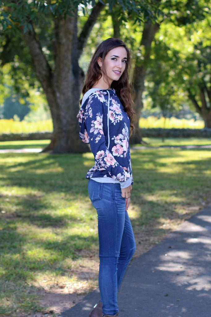 Let Your Dreams Blossom Floral Hoodie - Navy