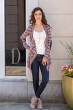 Pink Striped Open Front Cardigan with Elbow Patches Fullbody Front View