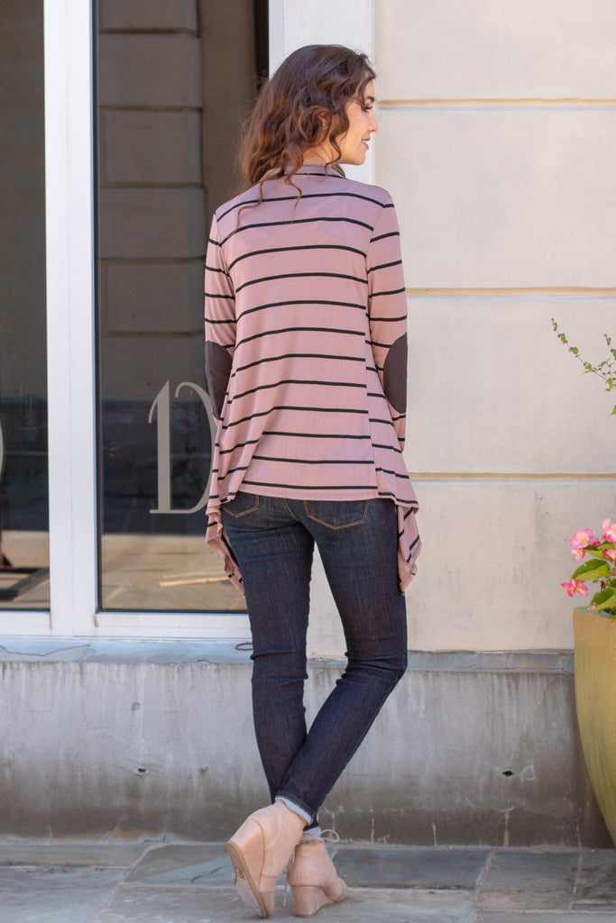 Pink Striped Open Front Cardigan with Elbow Patches Fullbody Back View