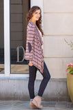 Pink Striped Open Front Cardigan with Elbow Patches Fullbody Right Side View
