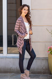 Pink Striped Open Front Cardigan with Elbow Patches Fullbody Front Right View