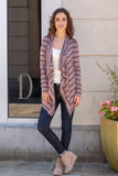 Pink Striped Open Front Cardigan with Elbow Patches Fullbody Front View 2