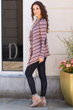 Pink Striped Open Front Cardigan with Elbow Patches Fullbody Left Side View