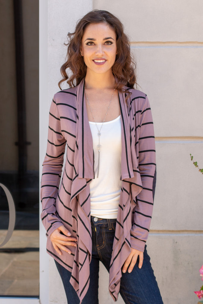 Pink Striped Open Front Cardigan with Elbow Patches Close Up Front View