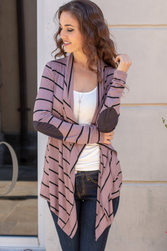 Pink Striped Open Front Cardigan with Elbow Patches Close Up Front/Patches