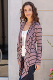 Pink Striped Open Front Cardigan with Elbow Patches Close Up Front Left View