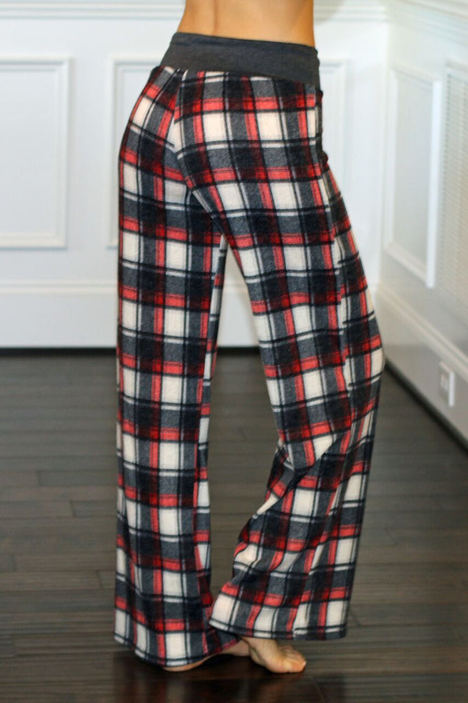 Chill Out Flannel Lounge Pants-Red/Cream