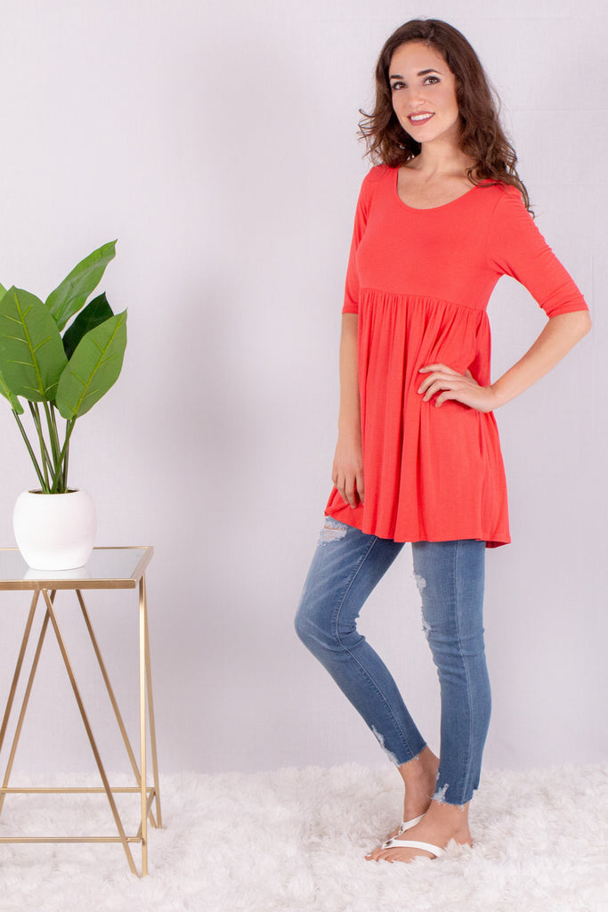Carefree Day Babydoll Top - Coral