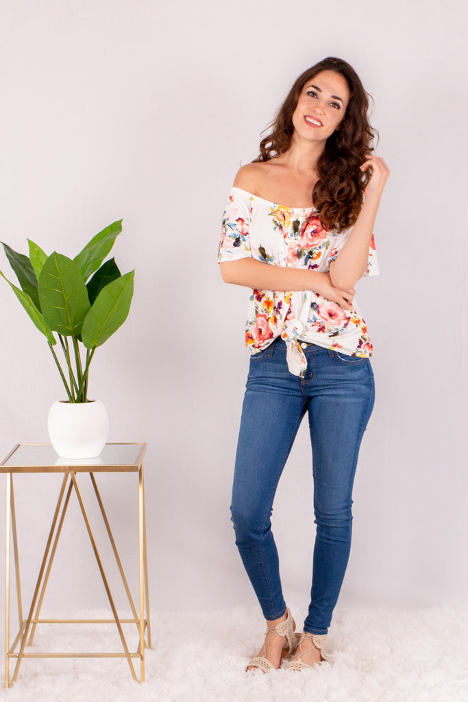 Somewhere in Wonderland Off the Shoulder Button Down Top- White/Floral