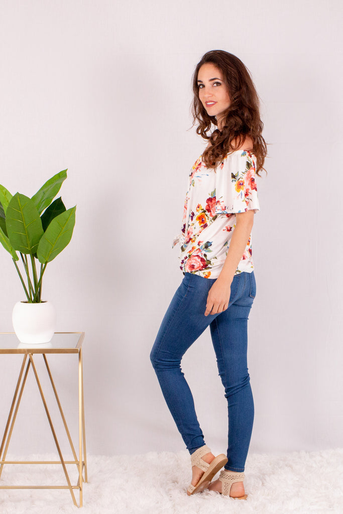 White/Multicolor Floral Off the Shoulder Button Down Left Side View