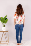 White/Multicolor Floral Off the Shoulder Button Down Back View