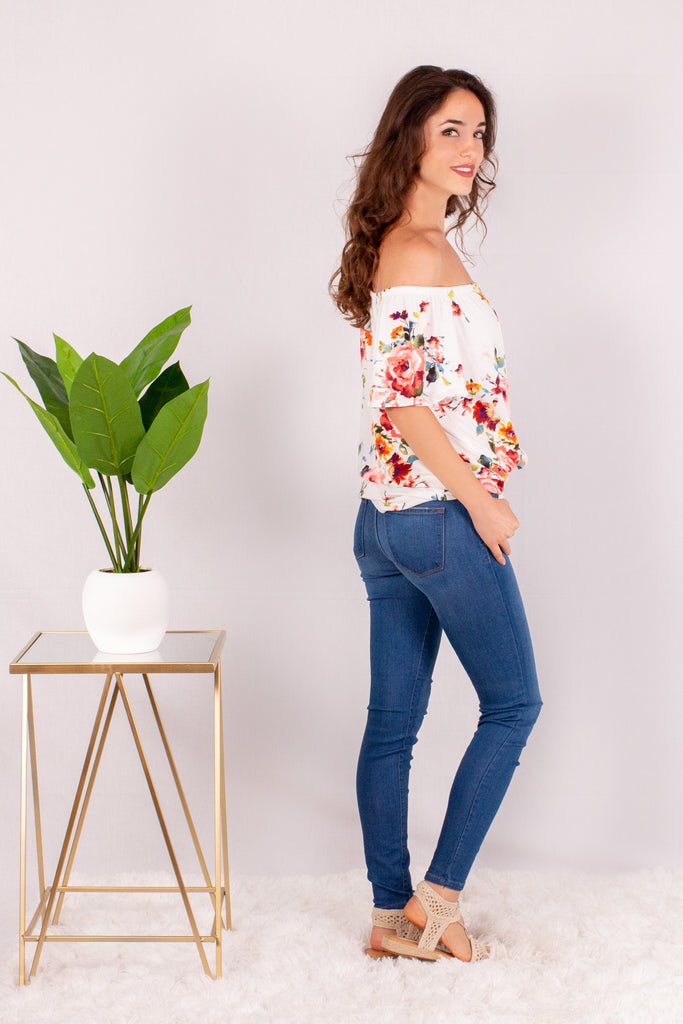 White/Multicolor Floral Off the Shoulder Button Down Right Side View