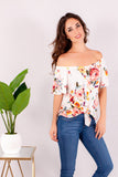 White/Multicolor Floral Off the Shoulder Button Down