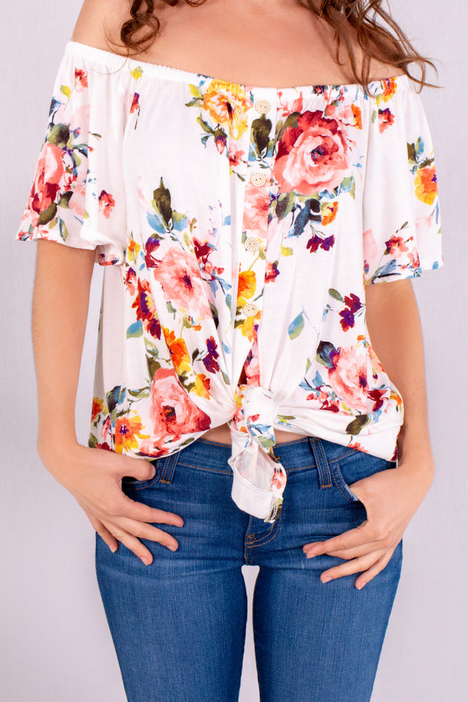 White/Multicolor Floral Off the Shoulder Button Down Close Up