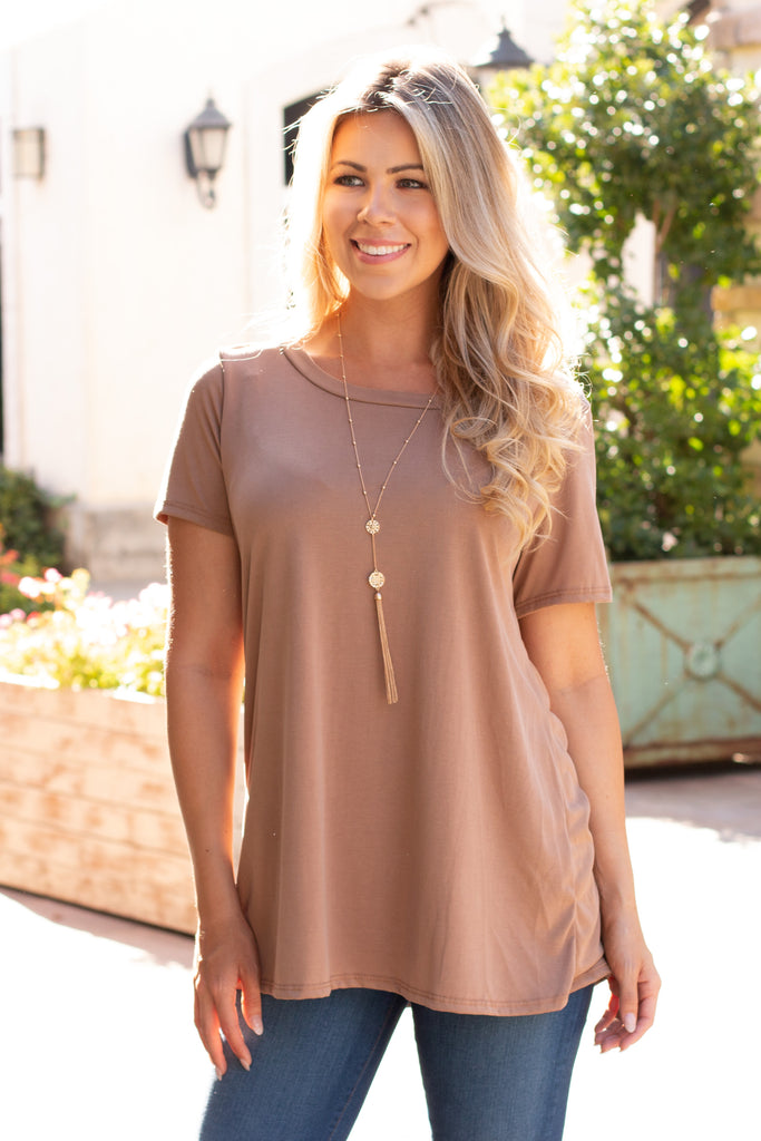 Tan Modal Short Sleeve Top with Back Cutout Front Close Up