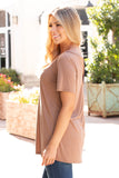 Tan Modal Short Sleeve Top with Back Cutout Left Side View