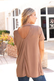 Tan Modal Short Sleeve Top with Back Cutout Back View