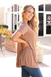 Tan Modal Short Sleeve Top with Back Cutout Right Side View