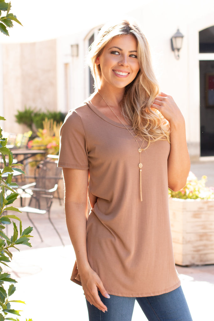 Tan Modal Short Sleeve Top with Back Cutout Front Close Up 2