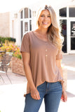 Tan Modal Short Sleeve Top with Back Cutout Front Close Up Tucked In