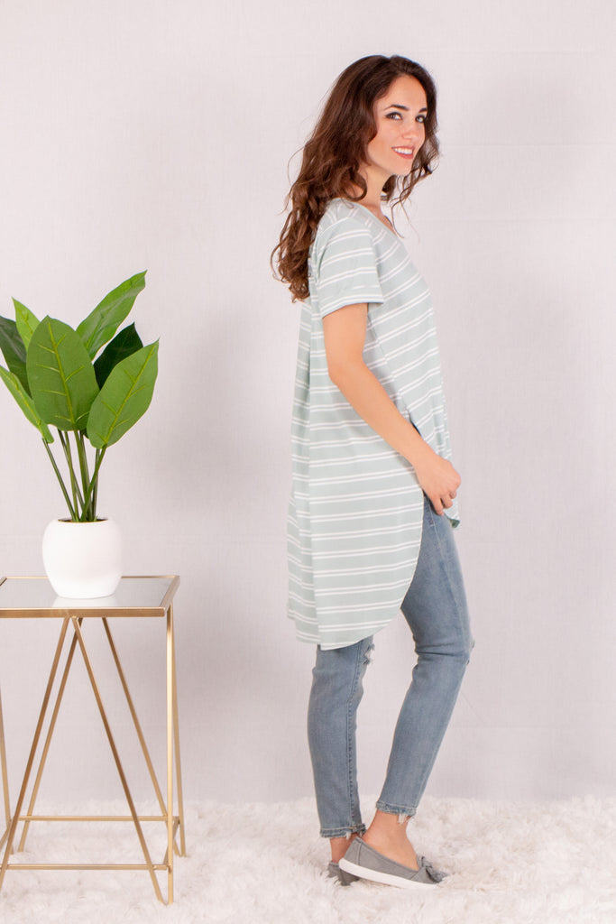 Teal and White Striped Rounded Hem Short Sleeve Top Side View