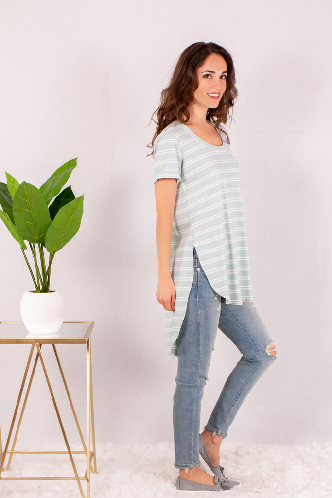 Teal and White Striped Rounded Hem Short Sleeve Top Side Hem View