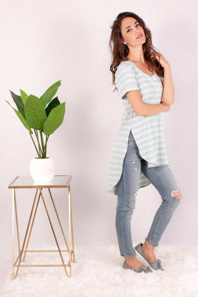 Teal and White Striped Rounded Hem Short Sleeve Top- Asymmetrical Hem Shot