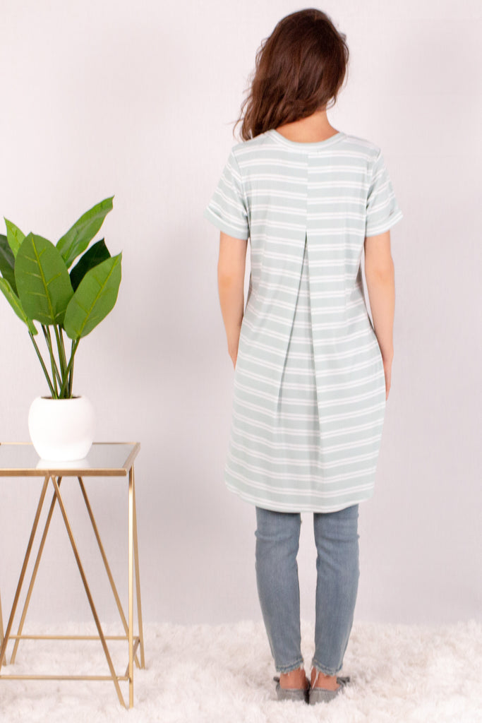 Teal and White Striped Rounded Hem Short Sleeve Top Back 2