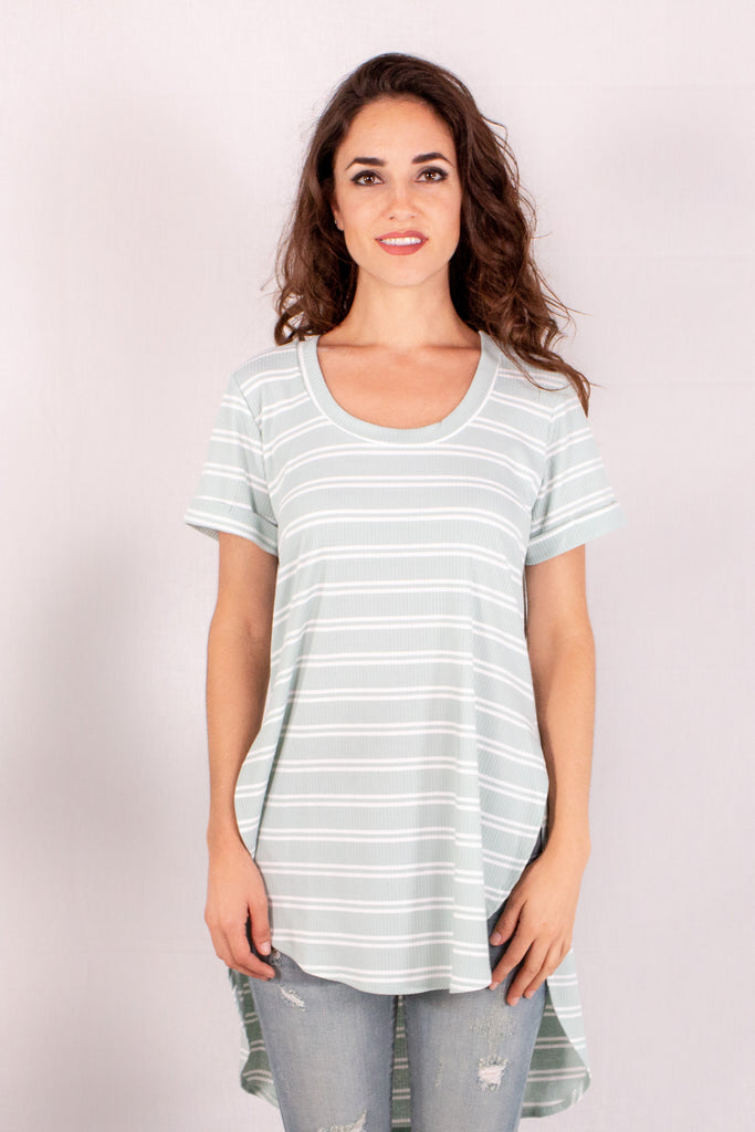 Teal and White Striped Rounded Hem Short Sleeve Top Close Up