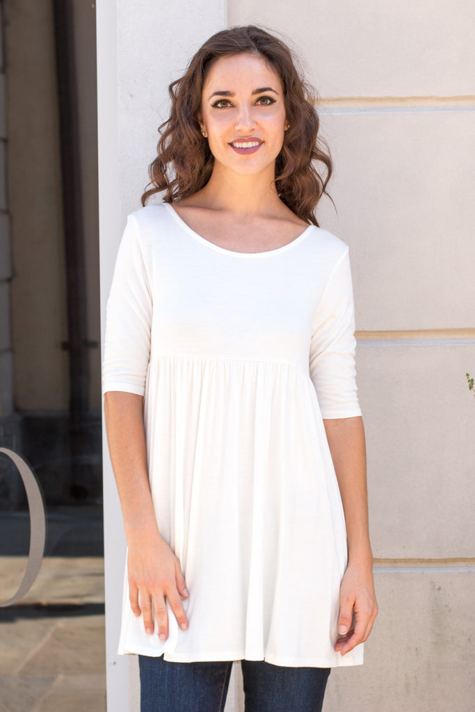 White Babydoll Top with Elbow Length Sleeve  Close Up Front 1