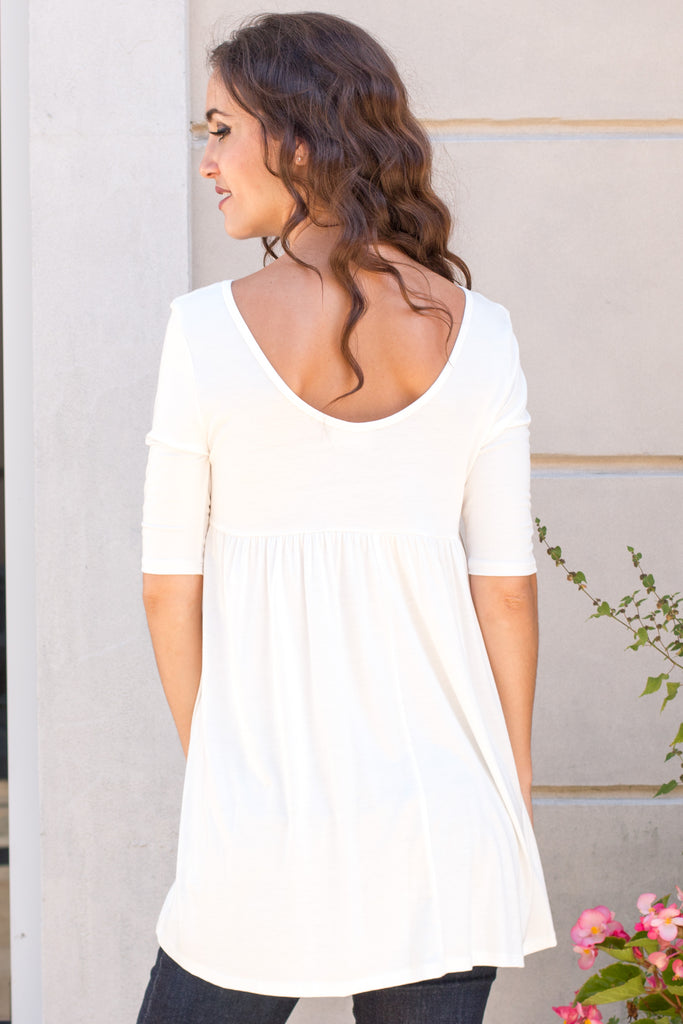White Babydoll Top with Elbow Length Sleeve Close Up Back View