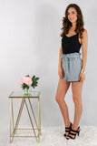Gray Woven Shorts with Gathered Ruffle Waist and Tie with Black Cami Side View