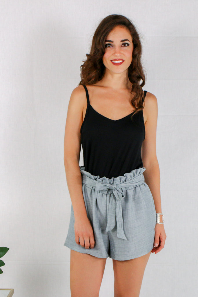 Gray Woven Shorts with Gathered Ruffle Waist and Tie with Black Cami Front View
