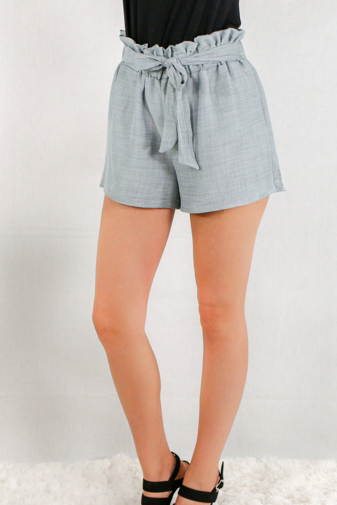 Gray Woven Shorts with Gathered Ruffle Waist and Tie Front Close Up