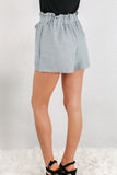 Gray Woven Shorts with Gathered Ruffle Waist and Tie Back Close Up