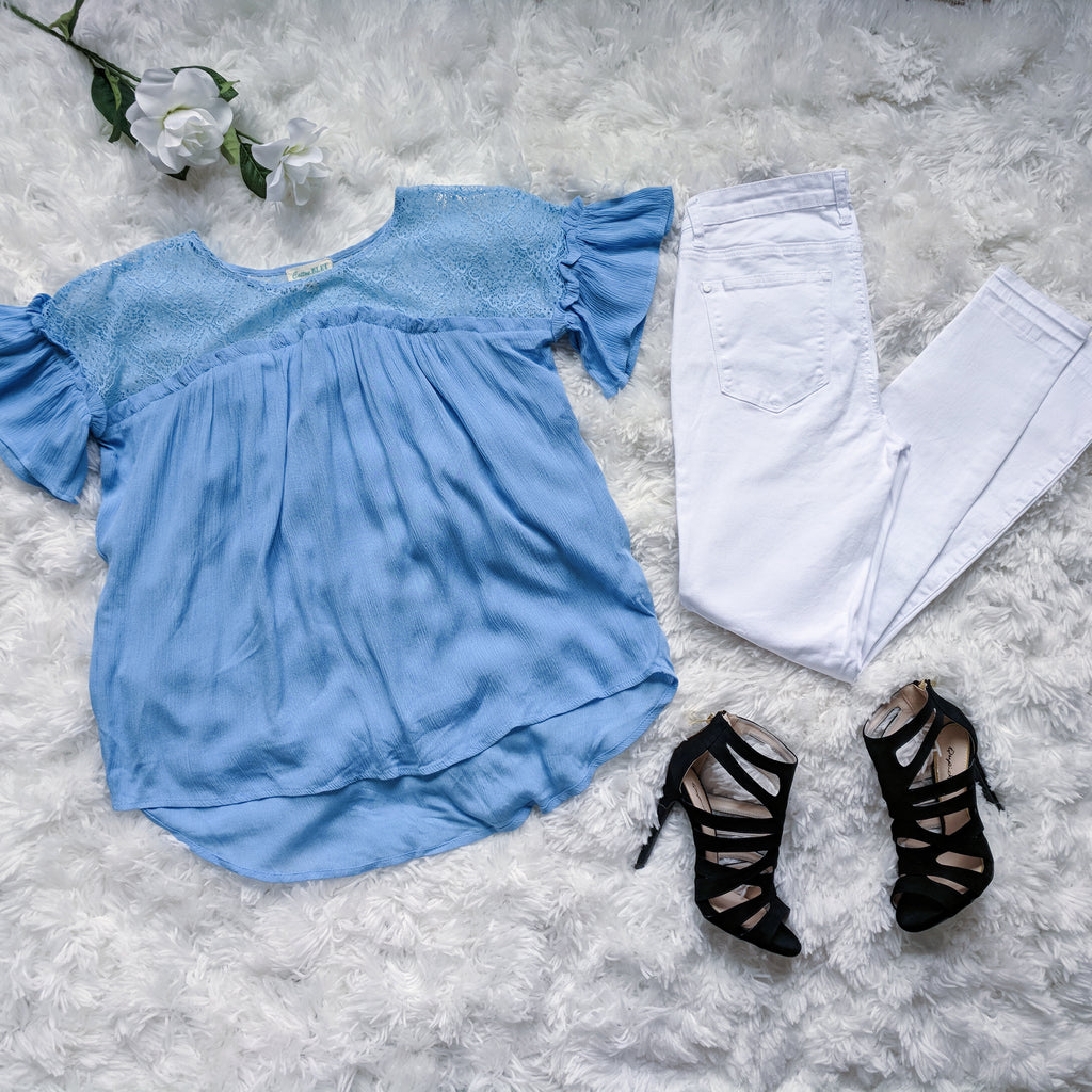 Breeze By the Beach Lace Top -Blue