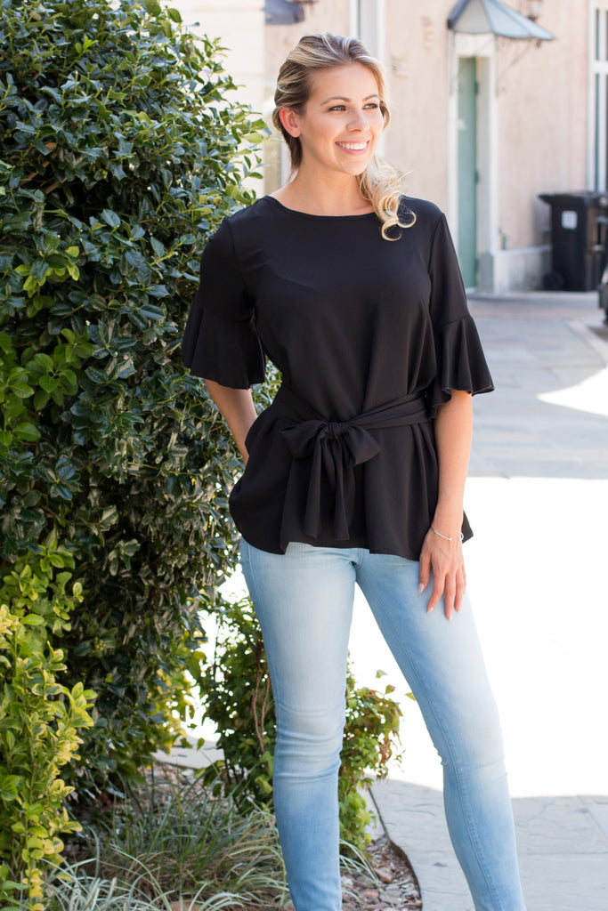 Black Tie Waist Ruffle Sleeve Top Fullbody Front Right View