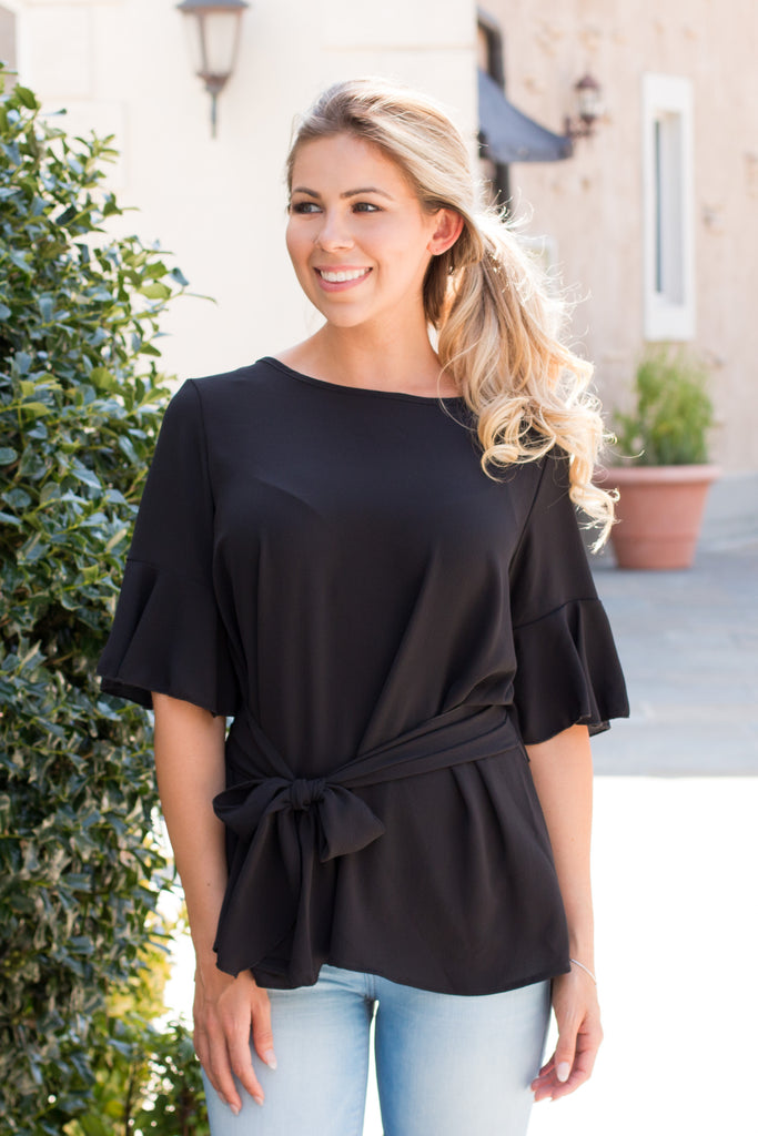 Black Tie Waist Ruffle Sleeve Top Front Close Up