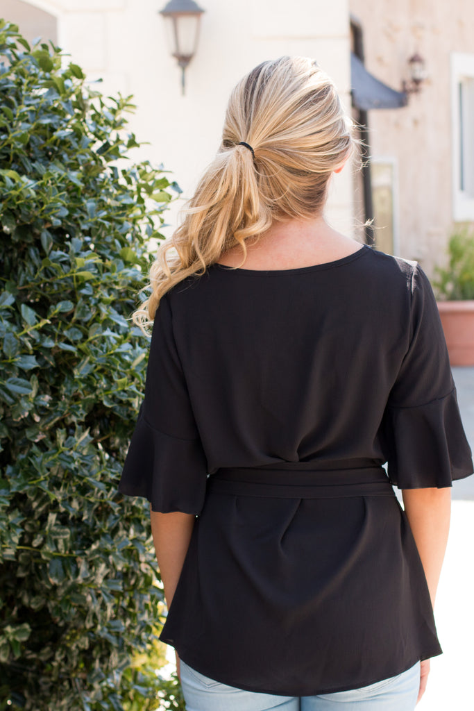 Black Tie Waist Ruffle Sleeve Top Back Close Up