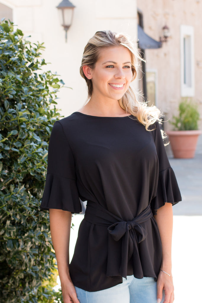 Black Tie Waist Ruffle Sleeve Top Front Close Up 2