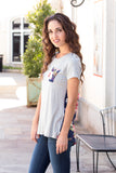 Grey and Navy/Pink Floral Back Tee with Front Pocket Front Left Close Up