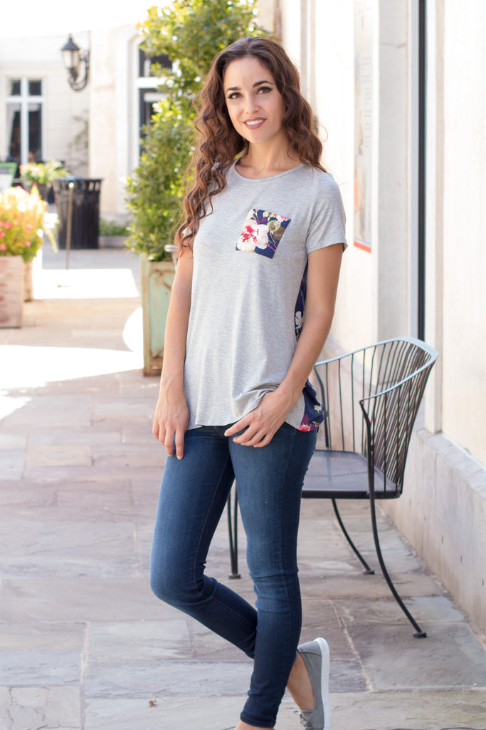 Grey and Navy/Pink Floral Back Tee with Front Pocket Front Left Fullbody View