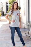Grey and Navy/Pink Floral Back Tee with Front Pocket Front Fullbody View