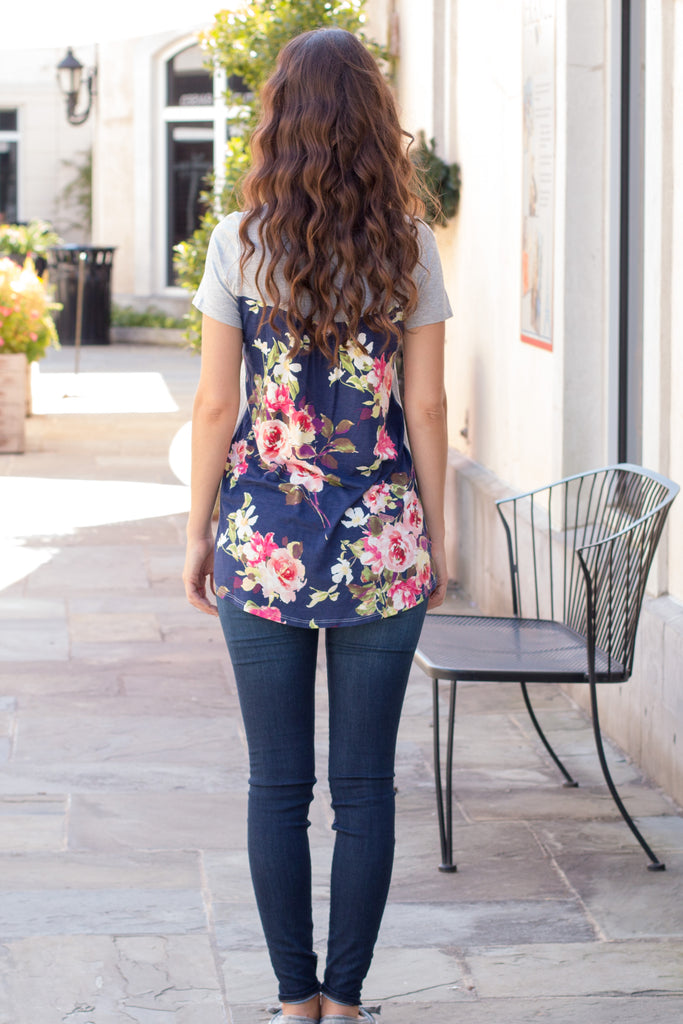 Grey and Navy/Pink Floral Back Tee with Front Pocket Back Fullbody View