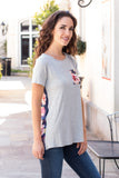Grey and Navy/Pink Floral Back Tee with Front Pocket Front Right Close Up