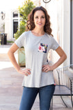 Grey and Navy/Pink Floral Back Tee with Front Pocket Front Close Up