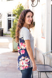 Grey and Navy/Pink Floral Back Tee with Front Pocket Right Side View