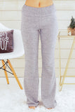 Hem and Thread Fleece Sweatpants in Light Grey Front View